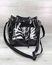 Прозора силіконова жіноча сумка мішечок через плече з косметичкою всередині