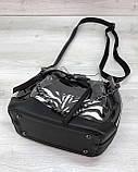 Прозрачная силиконовая женская сумка мешочек через плечо с косметичкой внутри, фото 4
