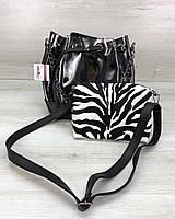 Прозрачная силиконовая сумка 23144 через плечо с косметичкой, фото 1