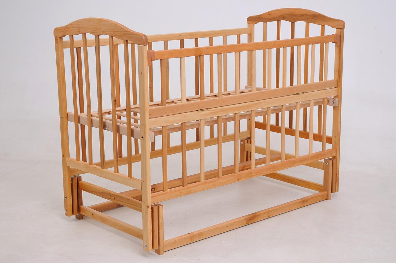 Детская кроватка «ЧАЙКА» натуральный лак с откидной боковиной
