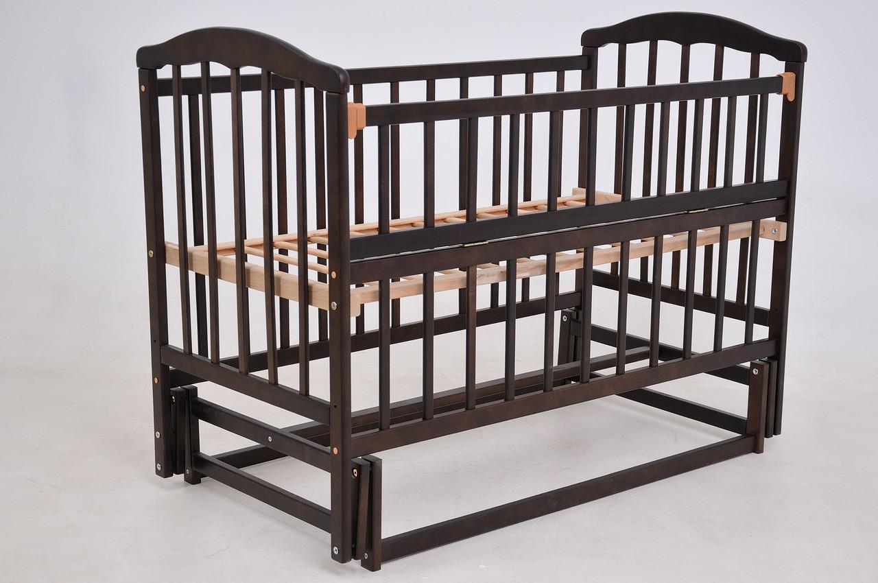 Детская кроватка «ЧАЙКА» темный орех с откидной боковиной