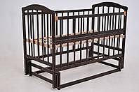 Детская кроватка «ЧАЙКА» темный орех с откидной боковиной, фото 1
