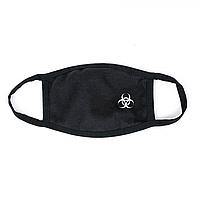 Захисна маска для особи, чорний колір, багаторазова, малий принт білого кольору Virus-Cobra, фото 1