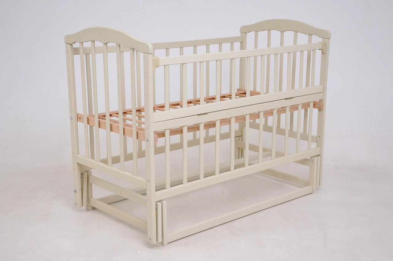 Детская кроватка «ЧАЙКА» ваниль с откидной боковиной