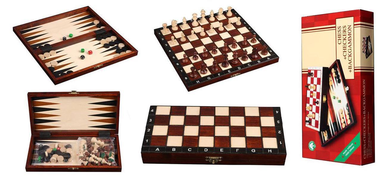 Набор шахматы, шашки, нарды из дерева