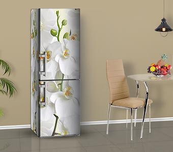 Наклейка на весь холодильник с орхидеями (на лицевую или на две стороны в 4-х размерах)