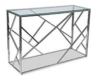 Консольный столик CF-3 (Escada C) стеклянный,  хромированный каркас, в стиле гламур, модерн, лофт, арт деко