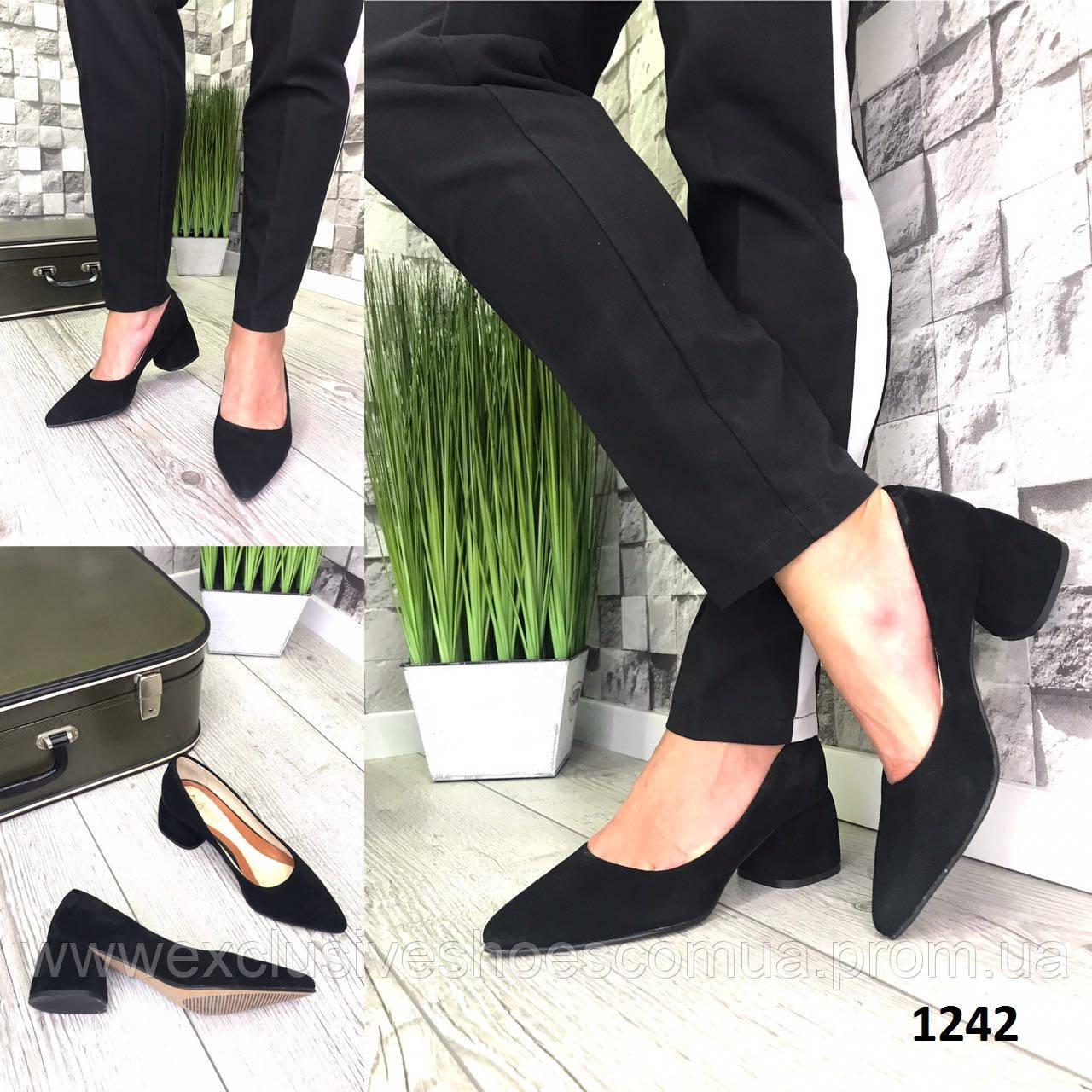 Туфли женские замшевые черные на каблуке остроносые лодочки