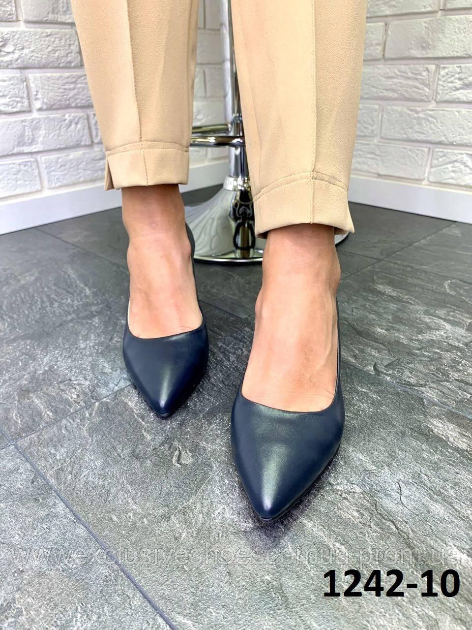 Туфли женские лодочки кожаные синие на каблуке остроносые