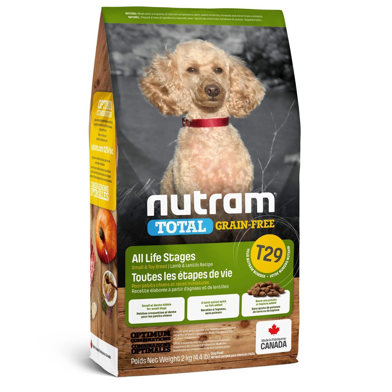 T29 Nutram Total 2кг беззерновой корм для собак  мелких пород с ягненком и овощами