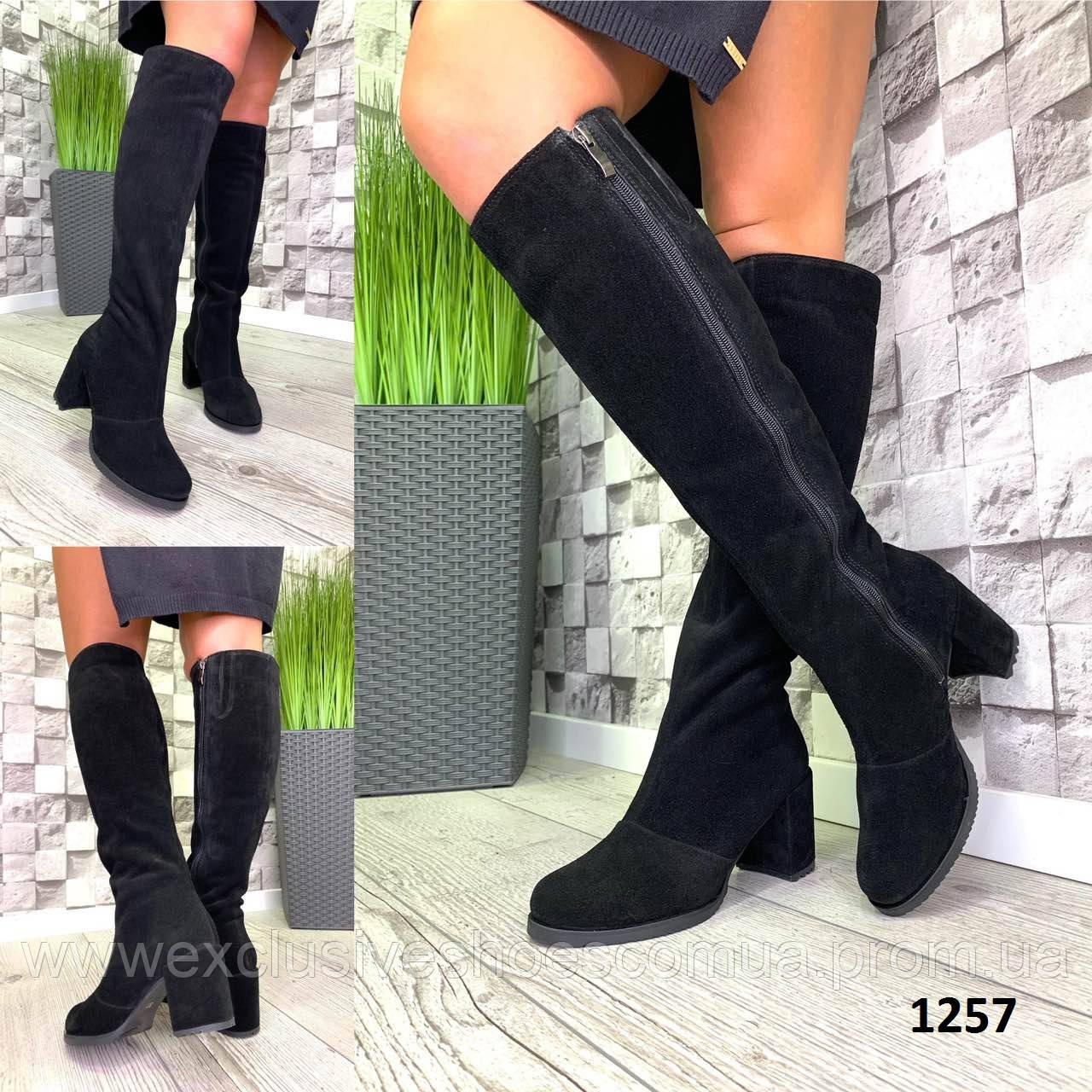 Сапоги женские зимние замшевые черные на каблуке