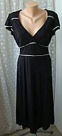 Платье вискоза черное в горошек миди бренд Principles р.46