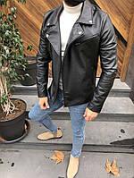 Кожаная куртка мужская косуха осень весна (эко кожа)