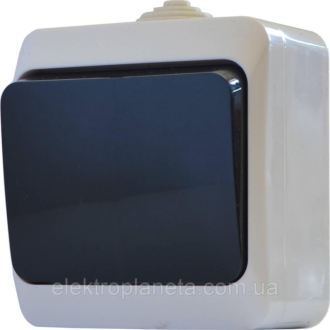 Вимикач одноклавішний (чорна клавіша) ВЗ10-1-IP44N