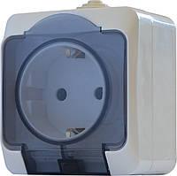 Розетка с прозрачной крышкой 2Р+PE  РЗ16-З-IP44N