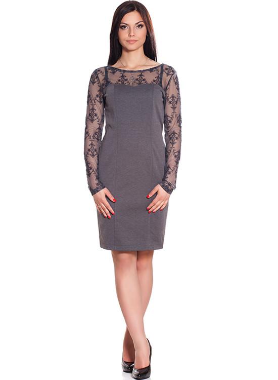 Женское платье с кружевными вставками (S-2XL)