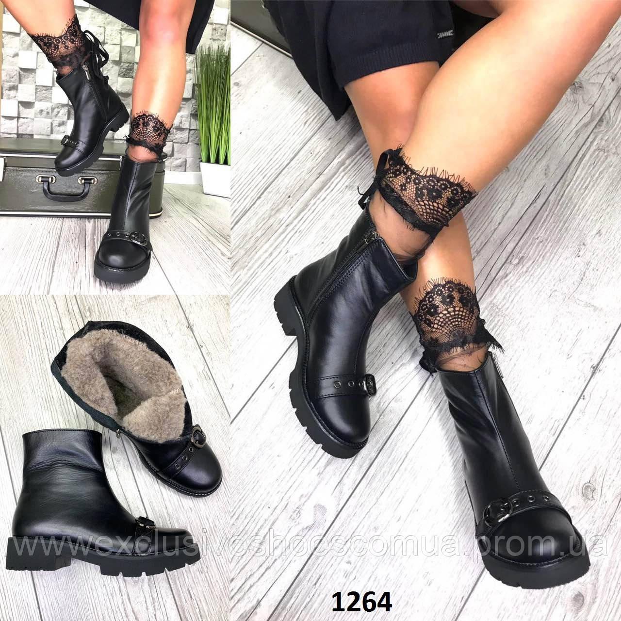 Ботинки женские зимние кожаные черные с пряжкой