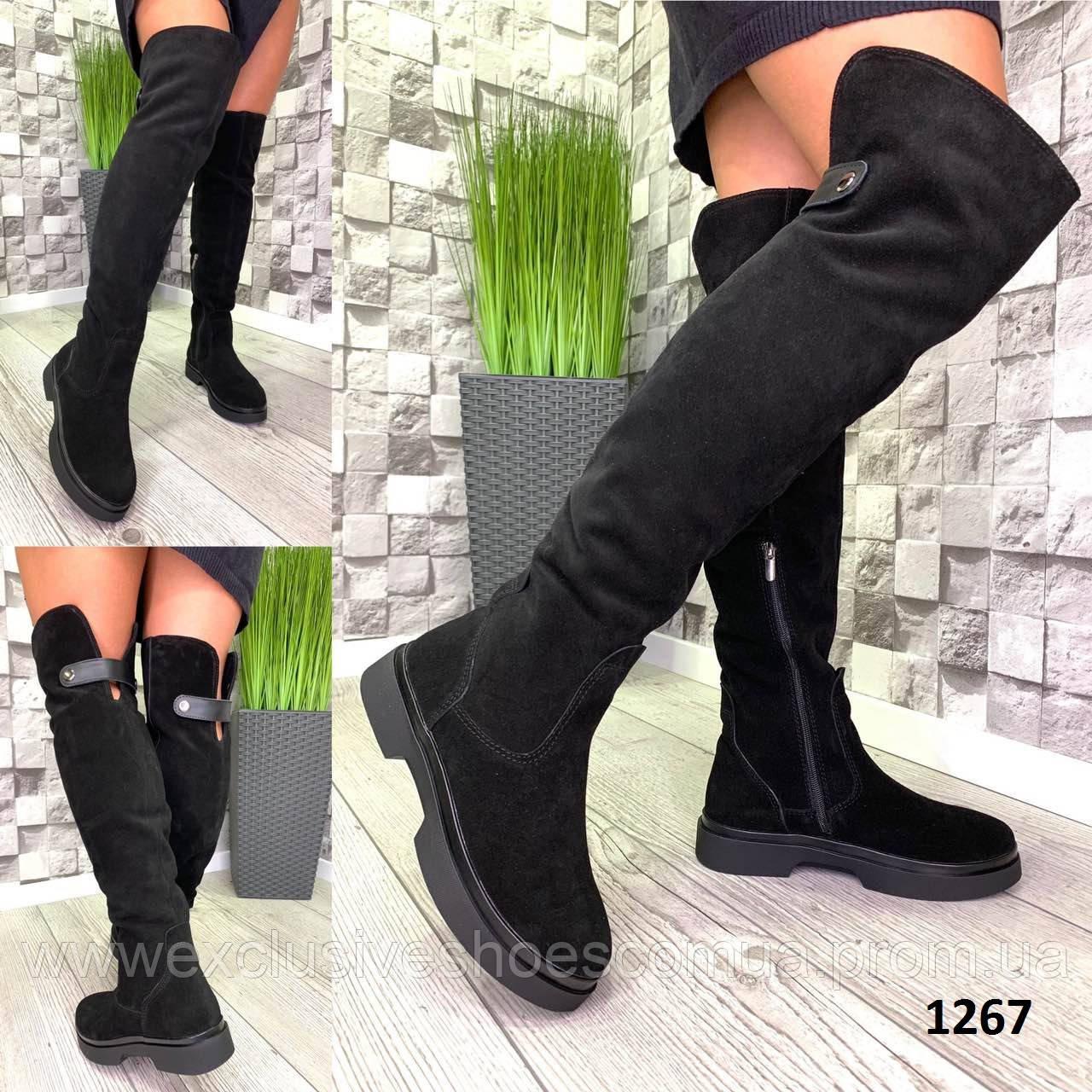 Ботфорты женские зимние замшевые черные без каблука