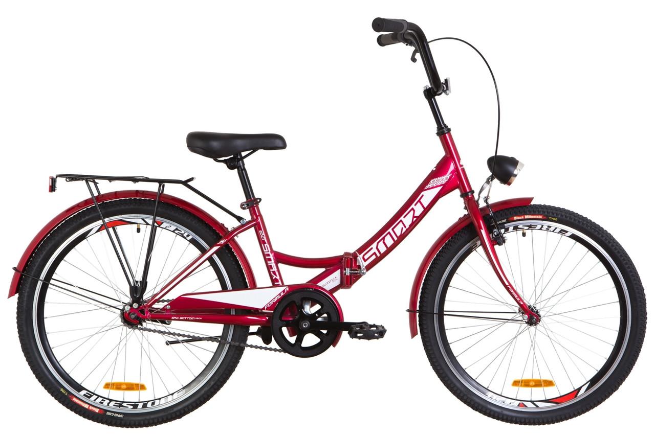 """Велосипед 24"""" Formula SMART 14G тормозная St с багажником зад St, с крылом St, с фонарём 2019 (красный)"""