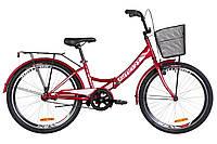 """Велосипед 24"""" Formula SMART 14G тормозная St с багажником зад St, с крылом St, с корзиной St 2019 (красный)"""