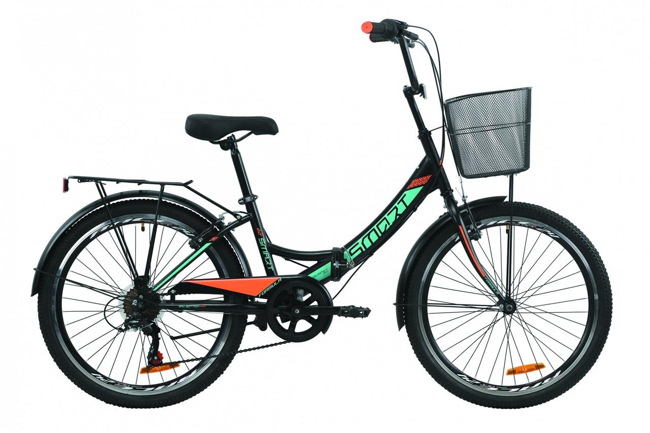 """Велосипед 24"""" Formula SMART 7 с багажником зад St, с крылом St, с корзиной St 2020 (черно-серый с белым (м))"""