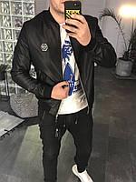 Кожанный бомбер,куртка весна Philipp Plein