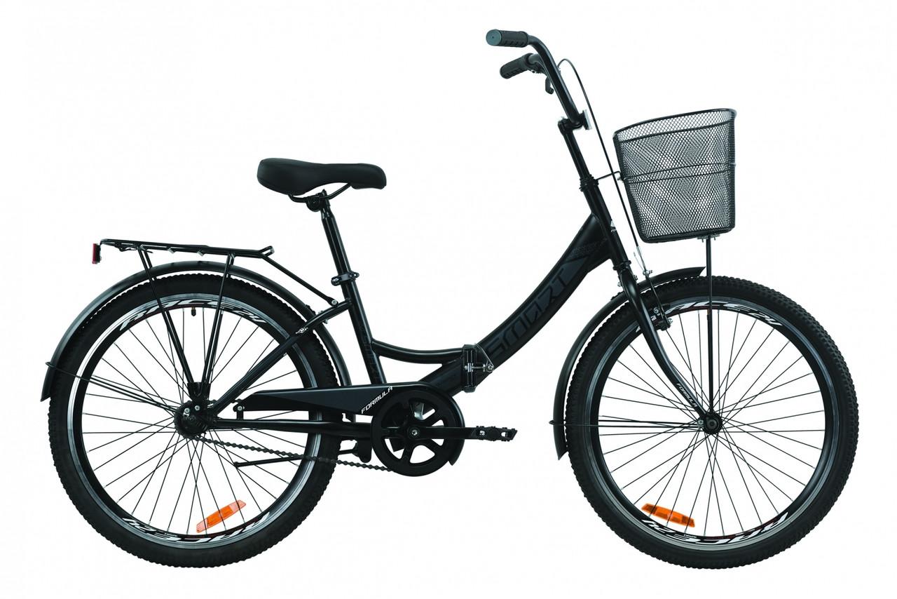 """Велосипед 24"""" Formula SMART с багажником зад St, с крылом St, с корзиной St 2020 (черно-серый с белым (м))"""