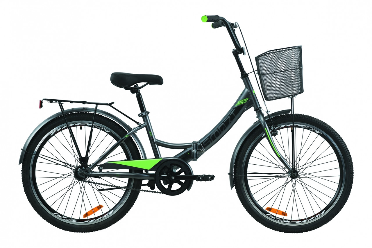 """Велосипед 24"""" Formula SMART с багажником зад St, с крылом St, с корзиной St 2020 (серо-зелёный с черным (м))"""