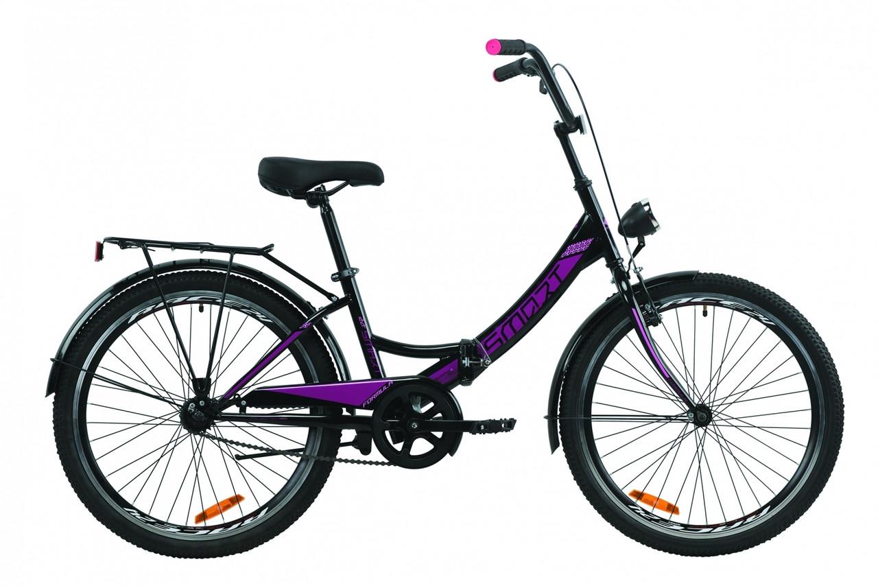 """Велосипед 24"""" Formula SMART с багажником зад St, с крылом St, с фонарём 2020 (черно-оранжевый с бирюзовым (м))"""