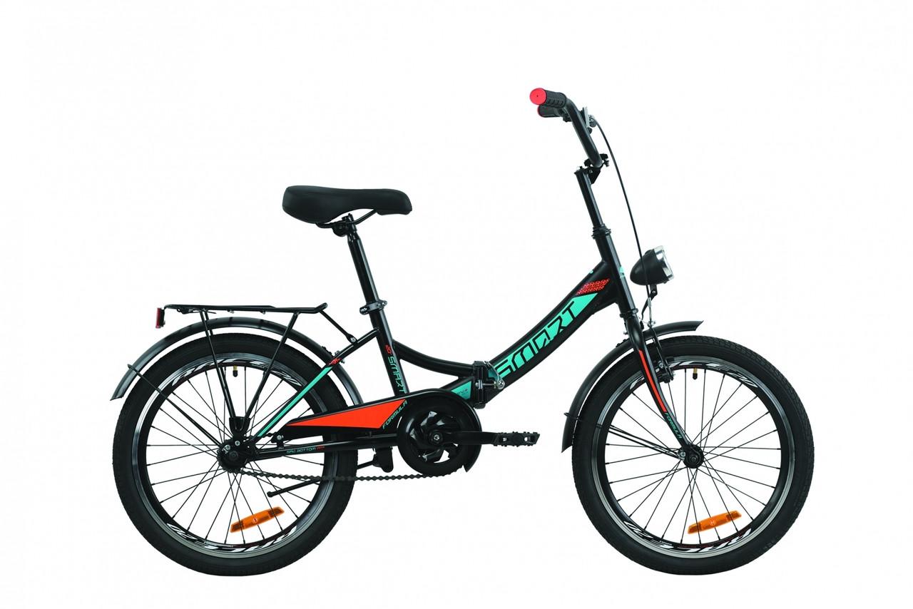 """Велосипед 20"""" Formula SMART с багажником зад St, с крылом St, с фонарём 2020 (черно-оранжевый с бирюзовым (м))"""