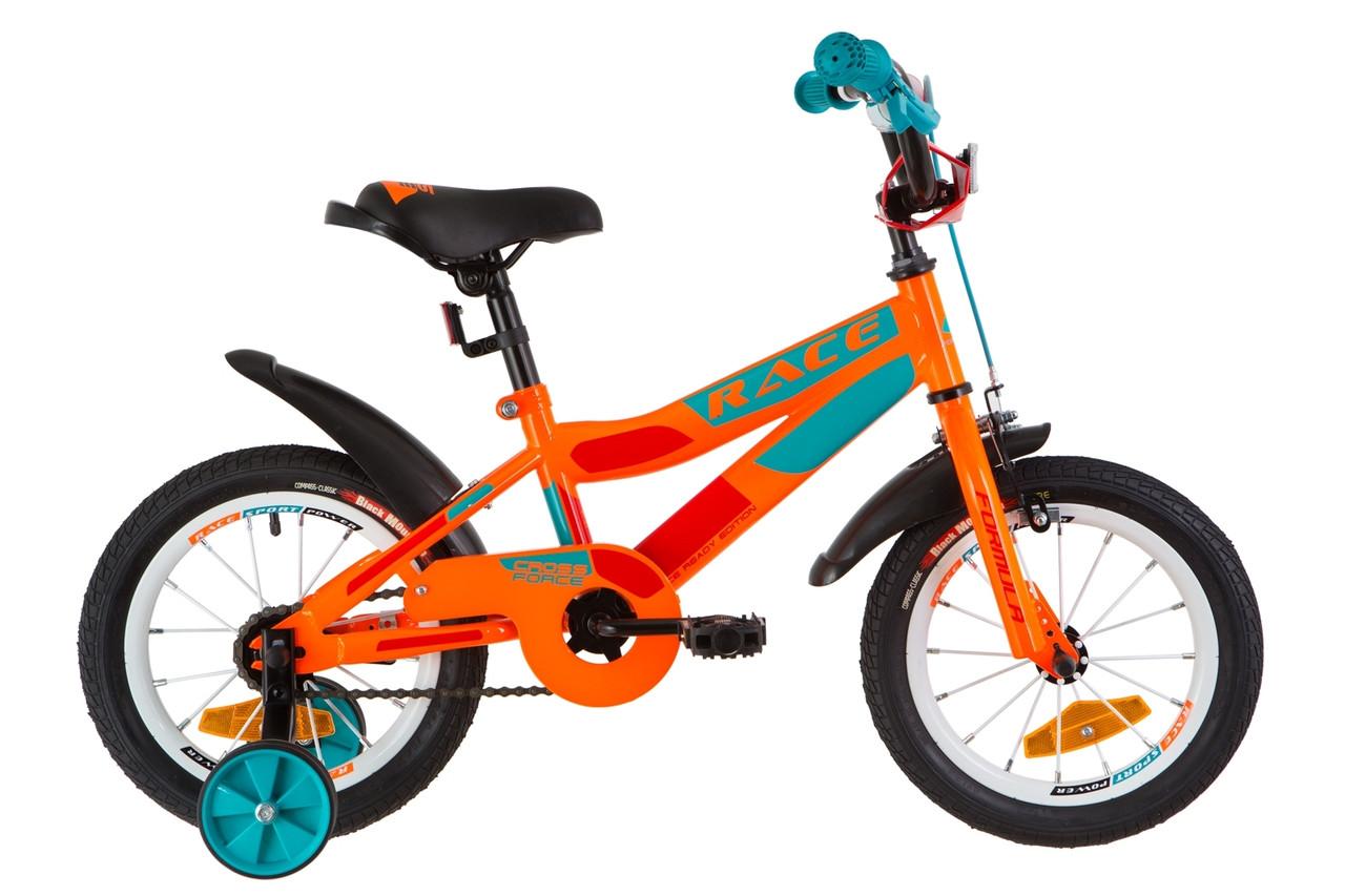 """Велосипед 14"""" Formula RACE усилен. St с крылом Pl 2019 (оранжево-бирюзовый)"""