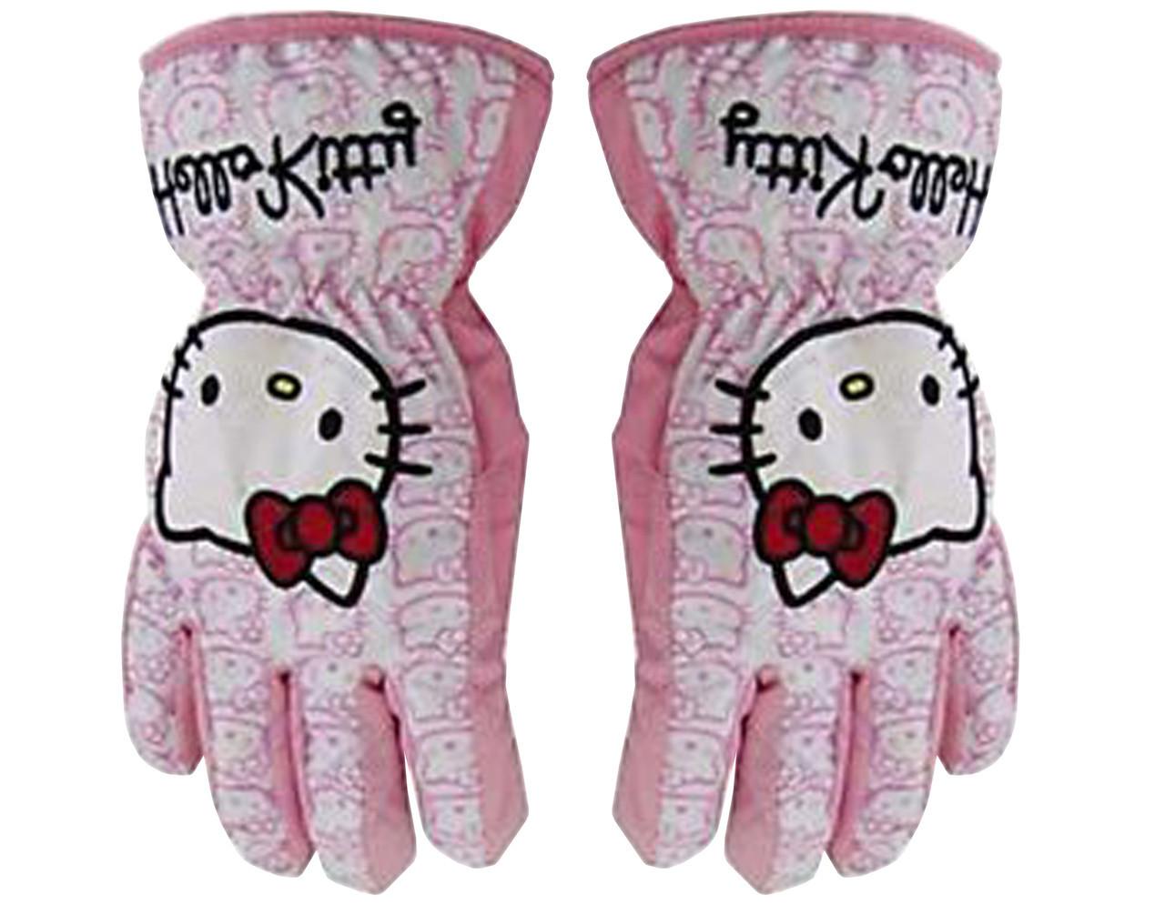 Гірськолижні рукавички (варіжки) Hello Kitty Love кол. білий-розовий | розмір 4,6 ( Такий самий дизайн)