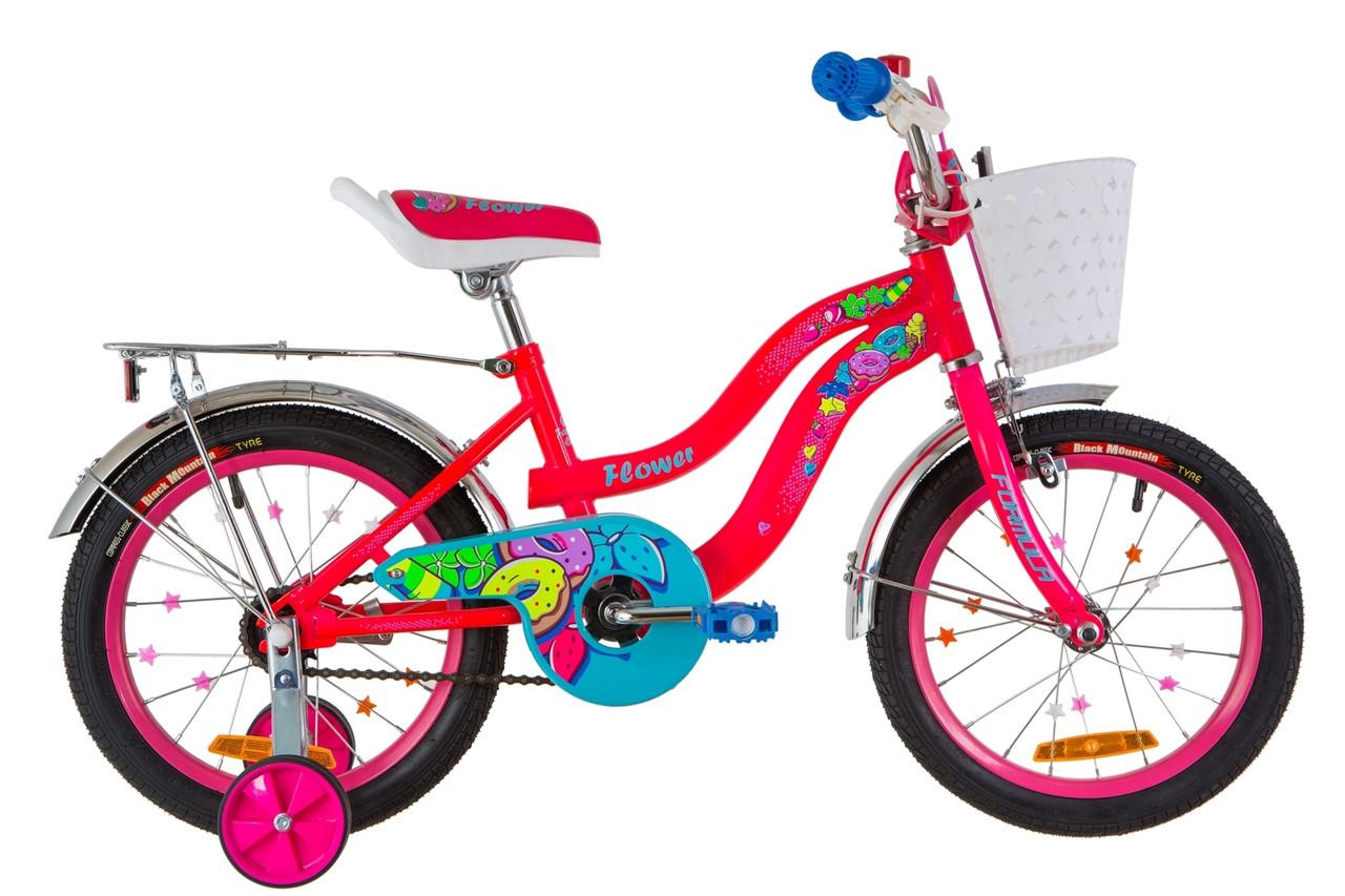"""Велосипед 16"""" Formula FLOWER 14G St с багажником зад St, с крылом St 2019 (розовый)"""