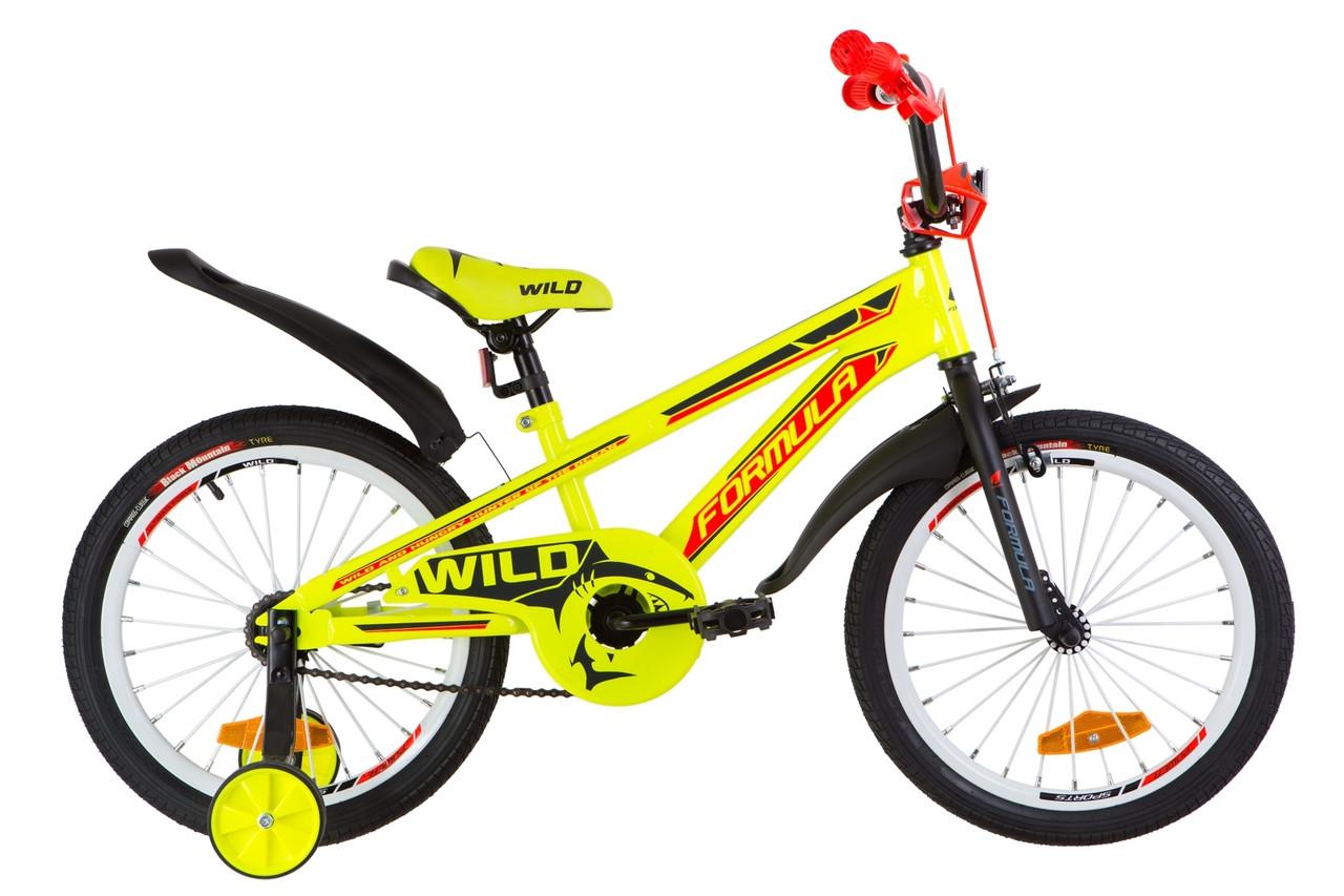 """Велосипед 18"""" Formula WILD усилен. St с крылом Pl 2019 (желто-оранжевый)"""