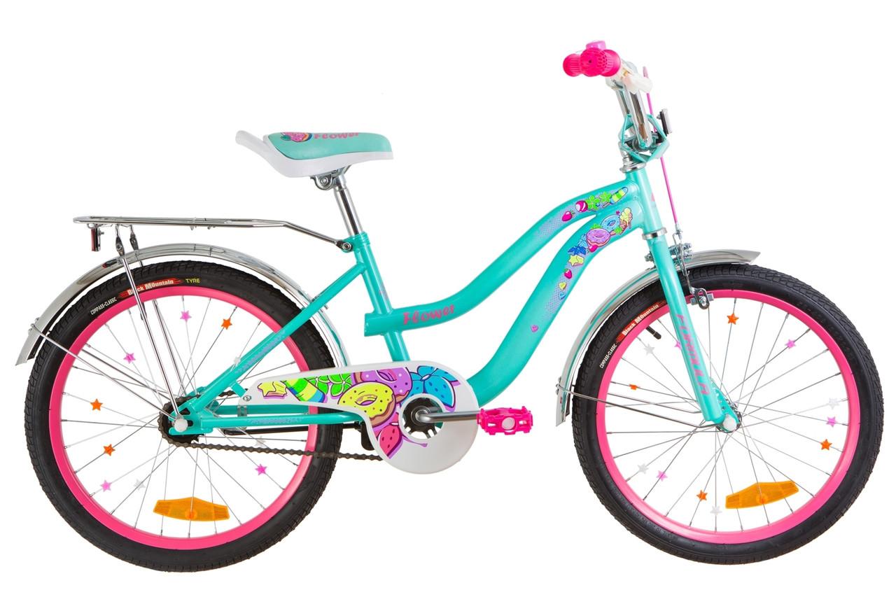 """Велосипед 20"""" Formula FLOWER 14G St с багажником зад St, с крылом St 2019 (бирюзовый)"""