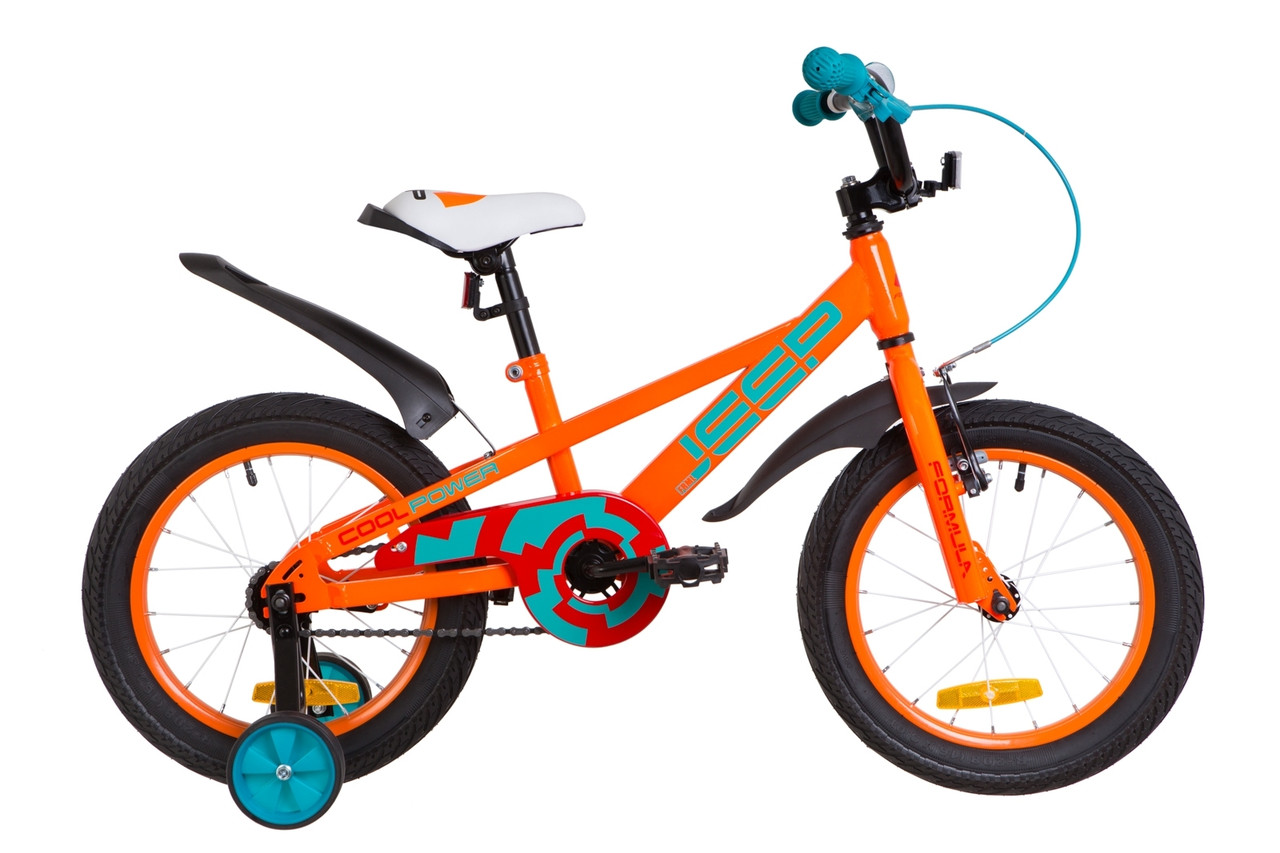 """Велосипед 16"""" Formula JEEP 14G St с крылом Pl 2019 (оранжево-бирюзовый)"""