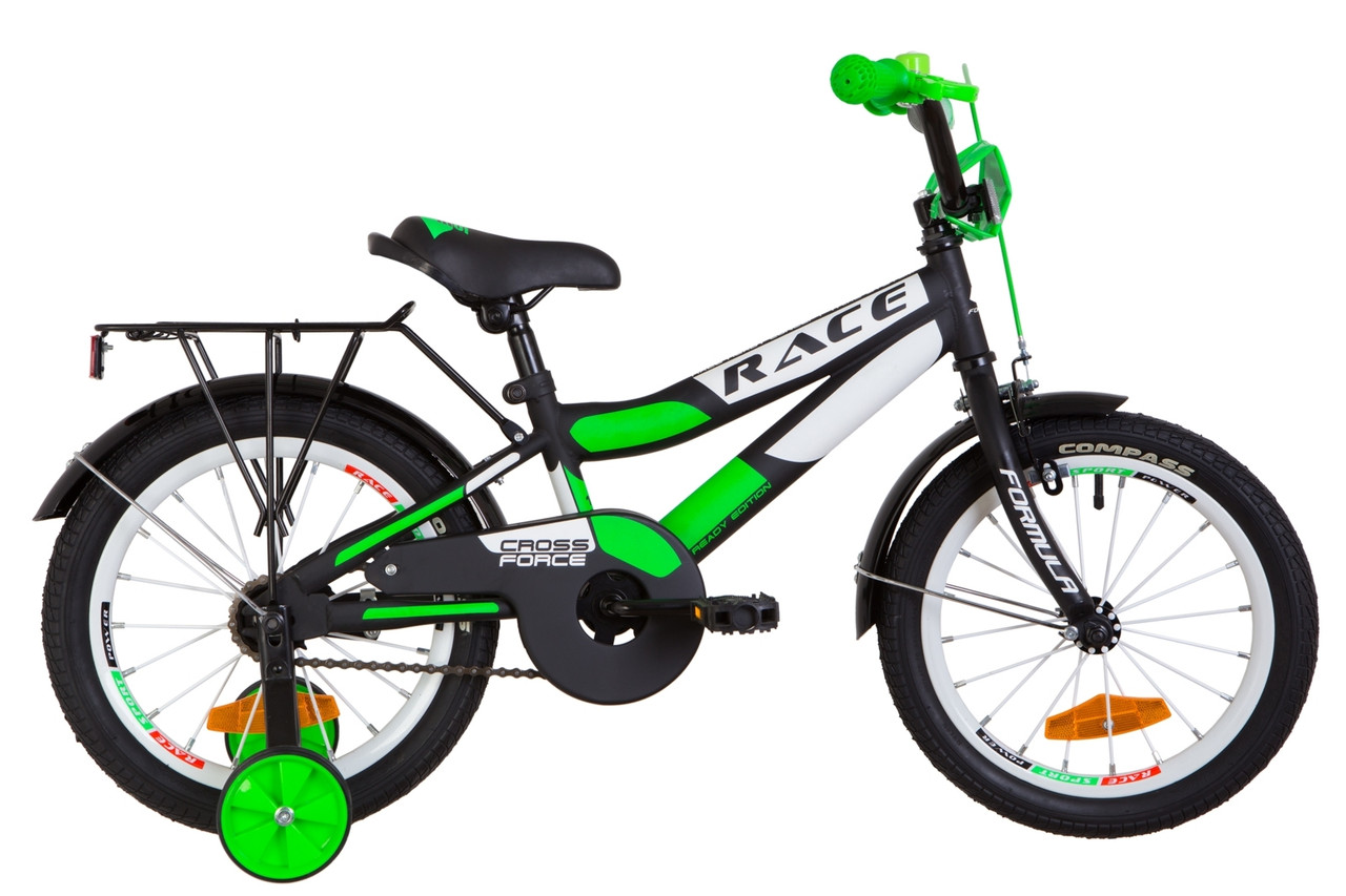 """Велосипед 16"""" Formula RACE MC усилен. St с багажником зад St, с крылом St 2019 (черно-салатный (м))"""