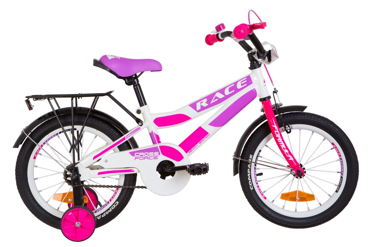 """Велосипед 16"""" Formula RACE MC усилен. St с багажником зад St, с крылом St 2019 (бело-малиновый с фиолетовым)"""