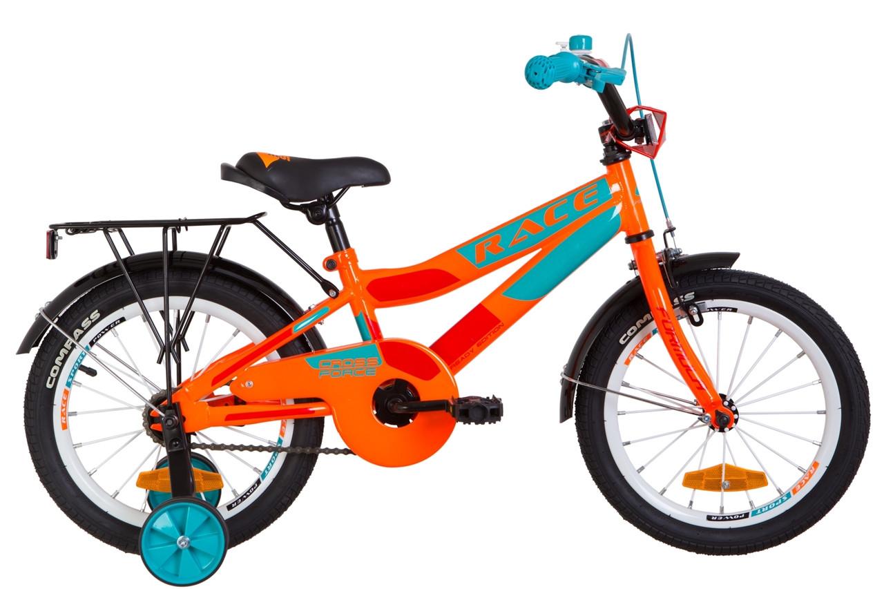 """Велосипед 16"""" Formula RACE MC усилен. St с багажником зад St, с крылом St 2019 (черно-оранжевый с синим (м))"""