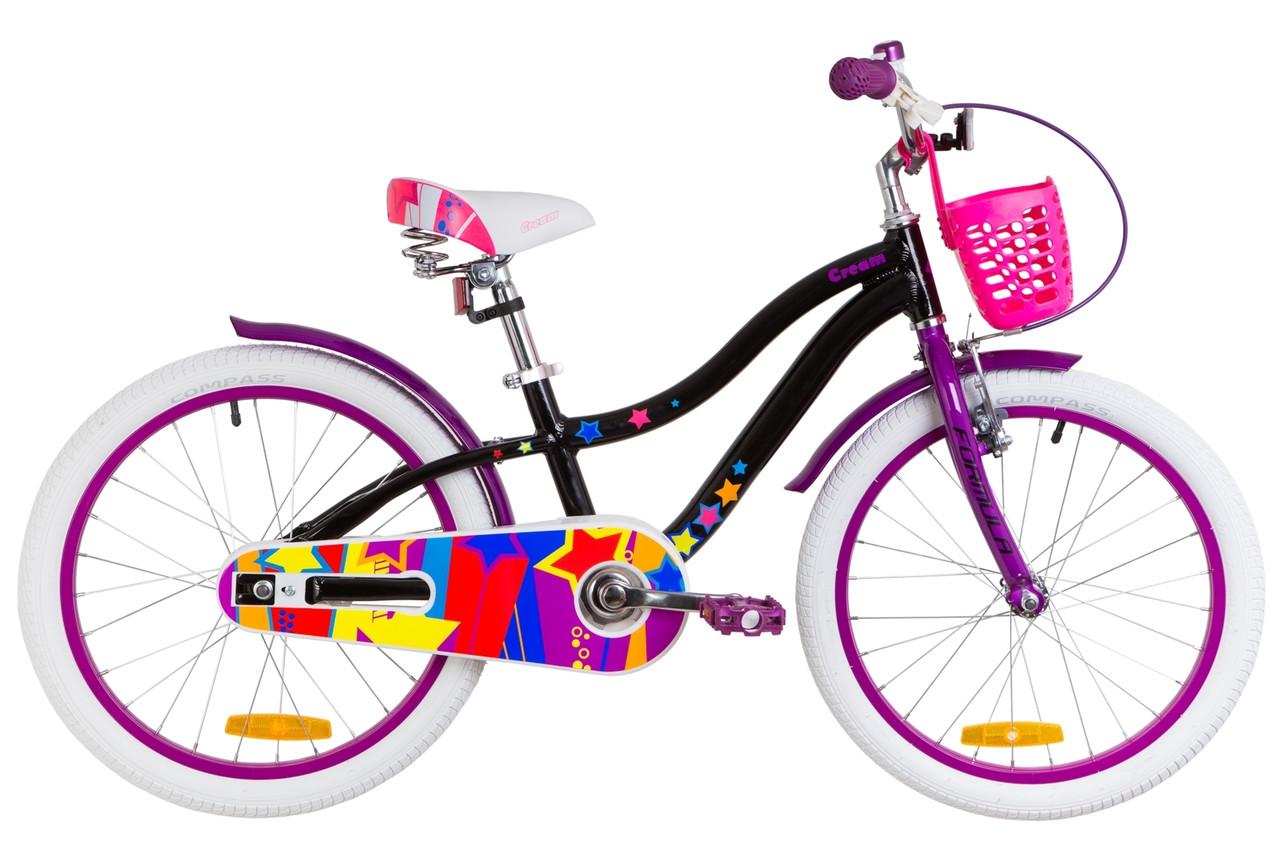 """Велосипед 20"""" Formula CREAM 14G Al с крылом St, с корзиной Pl 2019 (бело-розовый)"""