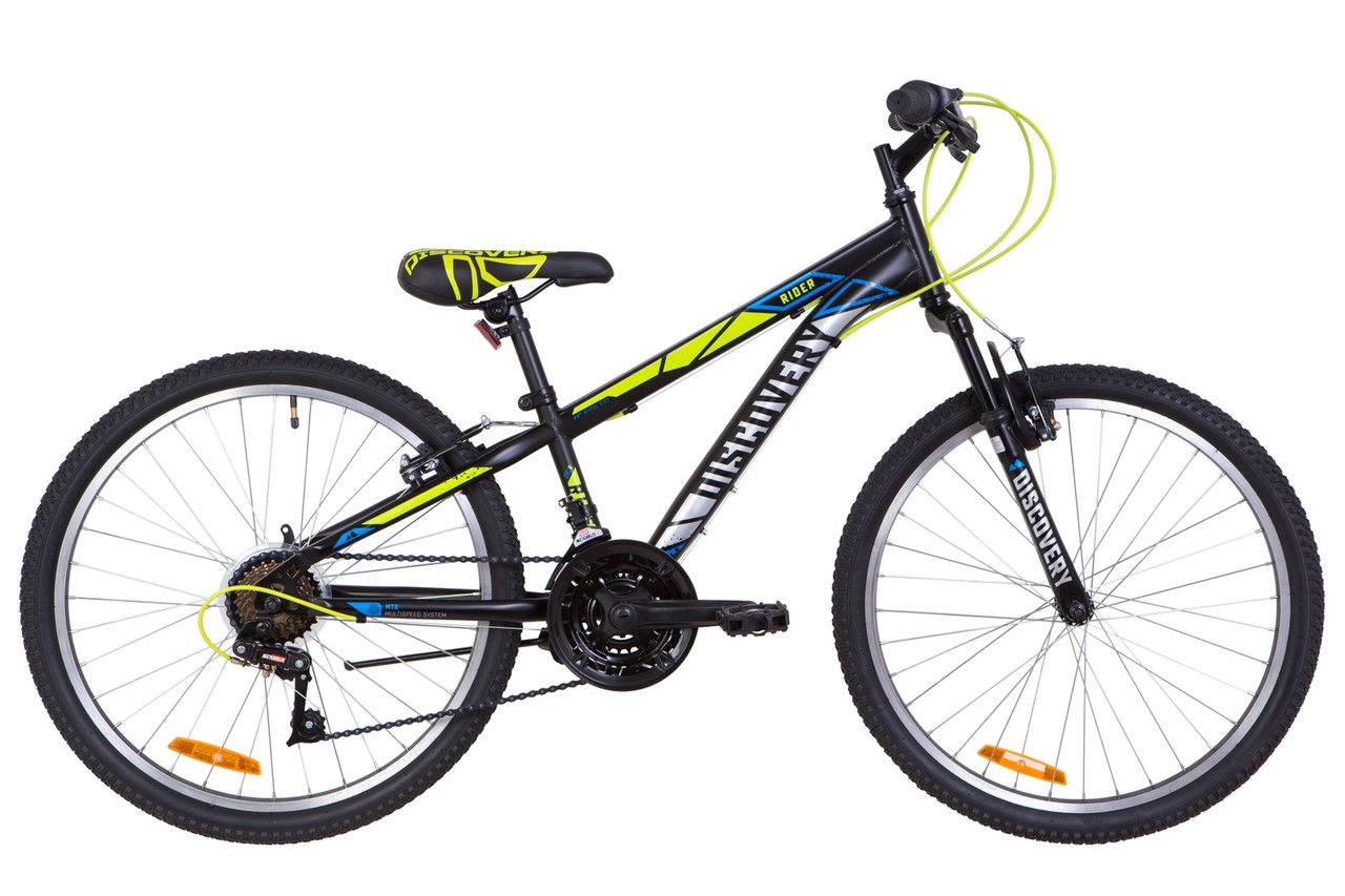"Велосипед 24"" Discovery RIDER AM 14G Vbr St 2019 (черно-салатно-серый (м))"
