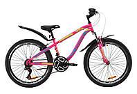 """Велосипед ST 24"""" Discovery FLINT AM Vbr с крылом Pl 2020 (малиново-голубой с желтым)"""