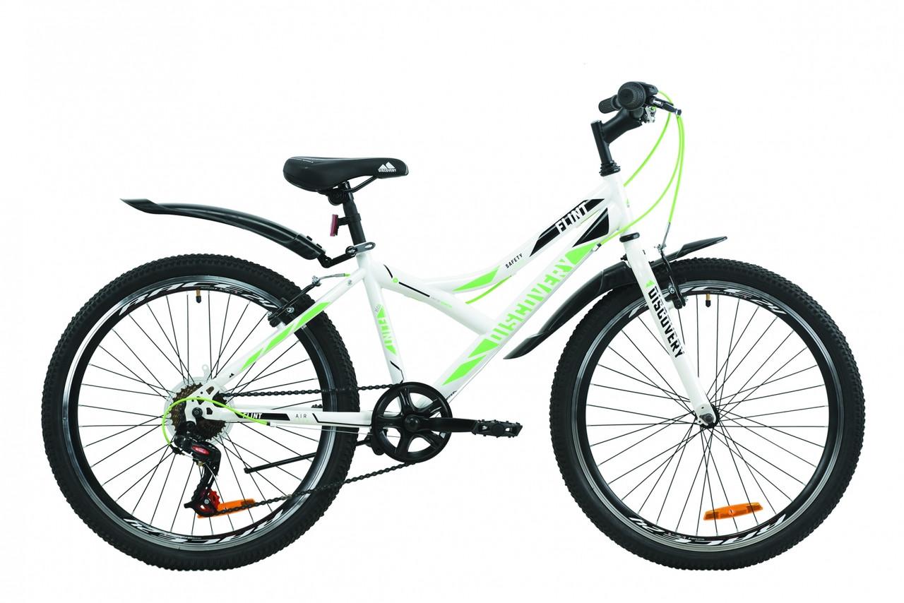 """Велосипед ST 24"""" Discovery FLINT Vbr с крылом Pl 2020 (бело-зеленый )"""