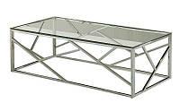 Журнальный столик CF-1 (Escada A) стеклянный, хромированный каркас, в стиле гламур, модерн, лофт, арт деко