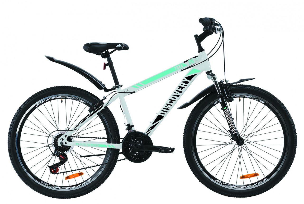 """Велосипед ST 26"""" Discovery TREK AM Vbr с крылом Pl 2020 (бело-черный с синим)"""