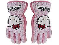 Гірськолижні рукавички (варіжки) Hello Kitty Love кол.білий-розовий | розмір 4,6 ( Такий самий дизайн)