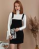 Стильный женский вельветовый сарафан с карманами черный велюровый - Фото