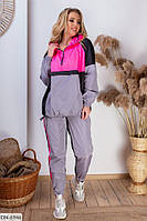 Женский спортивный костюм из плащевки с курткой ветровкой размеры 48-58 арт 05184