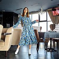 Платье с цветочным принтом синее, фото 1