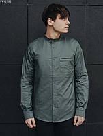 Мужская рубашка однотонная серая (чоловіча сорочка стаф) Staff gray PKY0185